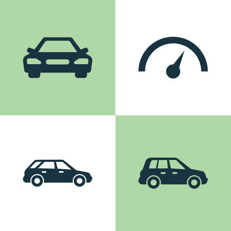 auto service: Automobile Icons Set. Collection Of Auto, Car, Hatchback And Other Elements. Also Includes Symbols Such As Crossover, Station, Wagon. Illustration