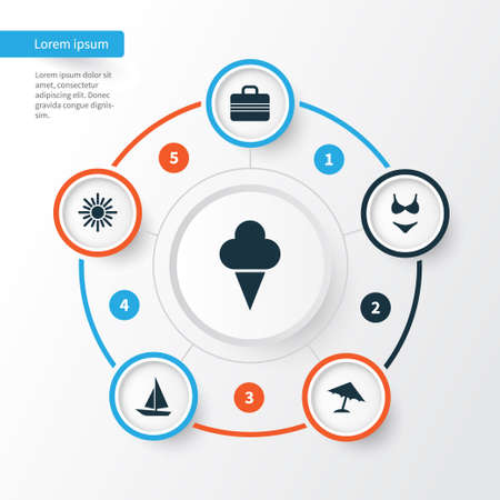 Hot Icons Set. Collection Of Parasol, Baggage, Ship And Other Elements. Also Includes Symbols Such As Sea, Boat, Beach.