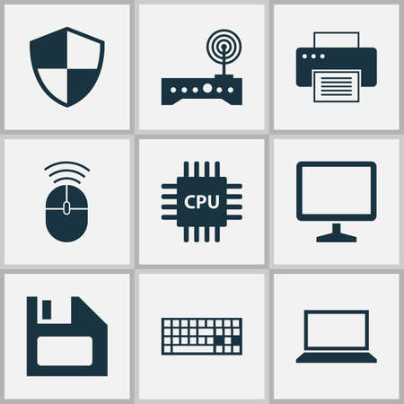 storage device: Notebook Icons Set. Collection Of Computer Mouse, Defense, Motherboard And Other Elements. Also Includes Symbols Such As Desktop, Motherboard, Cpu.