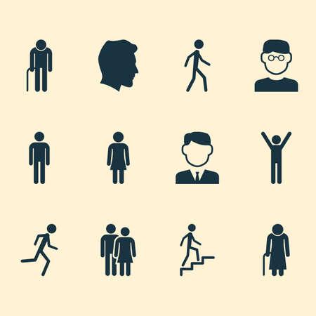 Menselijke pictogrammen instellen. Verzameling van heren, wetenschappers, werkman en andere elementen. Bevat ook symbolen zoals Smart, Gentleman, Climbing.
