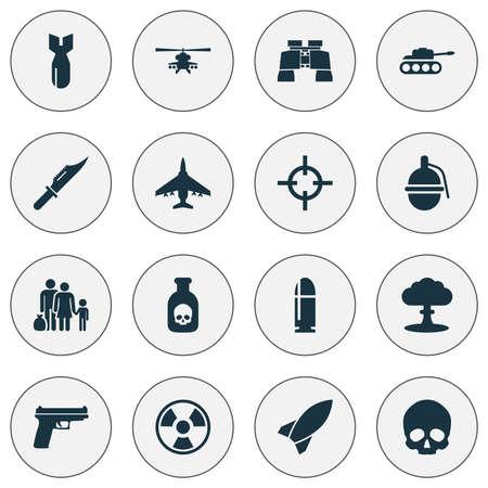 atomic bomb: Combat icons set