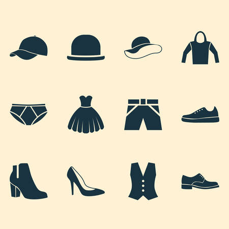sleeveless hoodie: Clothes Icons Set. Collection Of Waistcoat, Trunks Cloth, Panama And Other Elements. Also Includes Symbols Such As Hoodie, Trunks, Trilby. Illustration