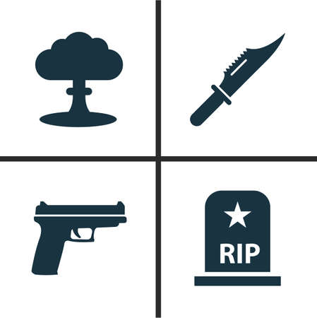 Combat Icons Set. Collection Of Weapons, Atom, Cutter And Other Elements. Also Includes Symbols Such As Rip, Scalper, Nuclear. Illustration