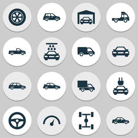camion: Automobile Icons Set. Collection Of Chronometer, Carriage, Plug And Other Elements. Also Includes Symbols Such As Water, Tire, Pickup.