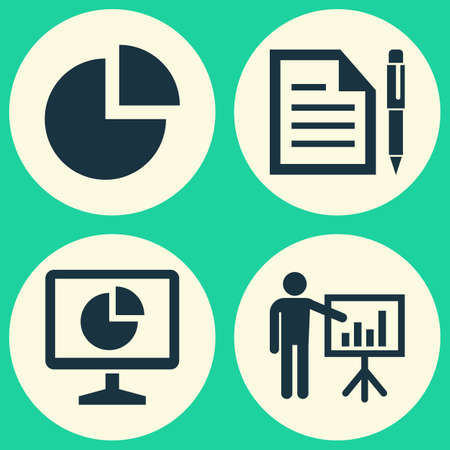 Job Icons Set. Collection Of Presenting Man, Pie Bar, Statistics And Other Elements. Also Includes Symbols Such As Business, Man, Graph.