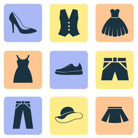 shoelace: Garment Icons Set. Collection Of Elegant Headgear, Waistcoat, Stylish Apparel And Other Elements. Also Includes Symbols Such As Sundress, Sarafan, Leggings. Illustration
