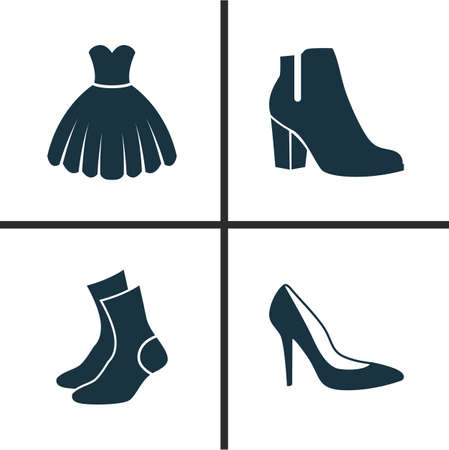 Clothes Icons Set. Collection Of Female Winter Shoes, Heel Footwear, Half-Hose And Other Elements. Also Includes Symbols Such As Sarafan, Garment, Sundress. Illustration