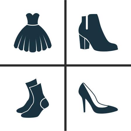 Conjunto de ícones de roupas. Coleção de sapatos femininos de inverno, calcanhar, meia mangueira e outros elementos. Inclui Símbolos como Sarafan, Garment, Sundress.