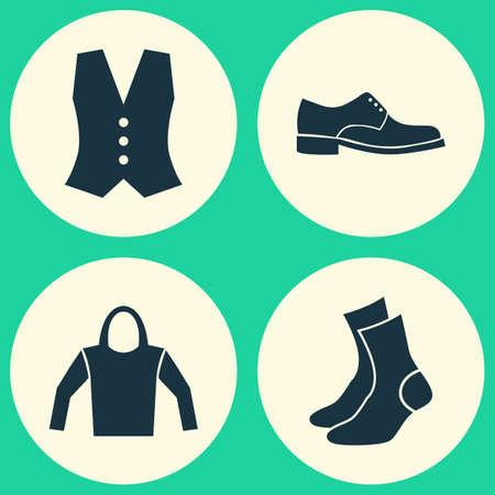 hooded vest: Dress Icons Set. Collection Of Half-Hose, Sweatshirt, Elegance And Other Elements. Also Includes Symbols Such As Socks, Half-Hose, Shoes. Illustration