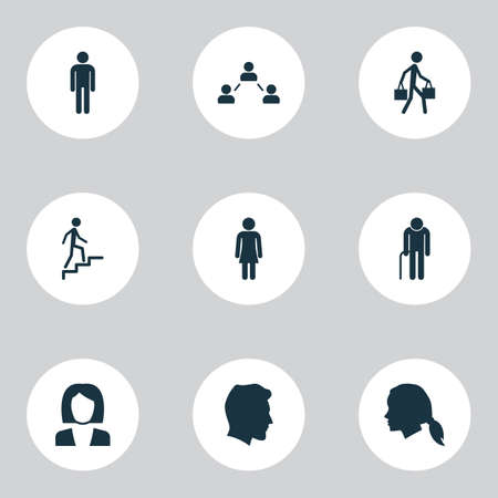 targets: People Icons Set. Collection Of Delivery Person, Network, Ladder And Other Elements. Also Includes Symbols Such As Man, Old, Gentlewoman.