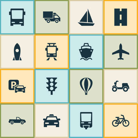 conveyor rail: Shipment Icons Set. Collection Of Bicycle, Van, Way And Other Elements. Also Includes Symbols Such As Yacht, Airship, Road. Illustration
