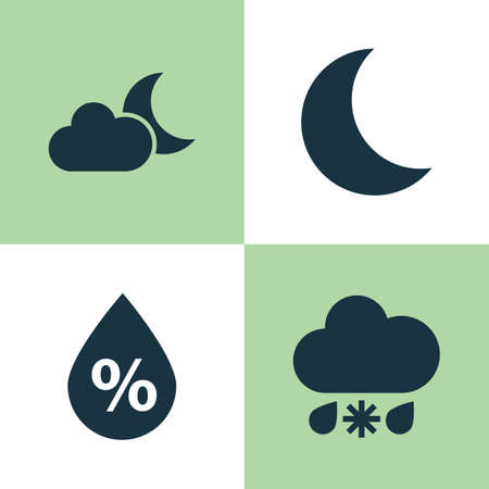 Weather Icons Set. Collection Of Moonlight, Wet, Moon And Other Elements. Also Includes Symbols Such As Moonlight, Humidity, Crescent. Illustration