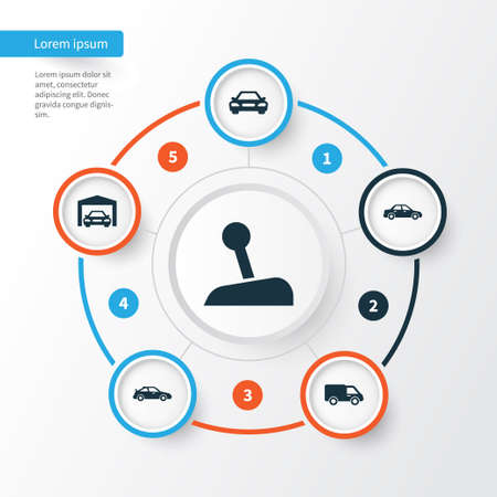 crossover: Automobile Icons Set. Collection Of Crossover, Truck, Repairing And Other Elements. Also Includes Symbols Such As Car, Van, Garage. Illustration