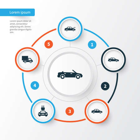 Auto Icons Set. Collection Of Lorry, Crossover, Plug And Other Elements. Also Includes Symbols Such As Convertible, Hood, Plug. Illustration