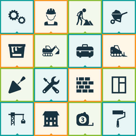 lifter: Building Icons Set. Collection Of Home, Equipment, Tractor And Other Elements. Also Includes Symbols Such As Tractor, Measure, Worker.
