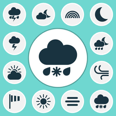 weathercock: Nature Icons Set. Collection Of Moon, Lightning, Flag And Other Elements. Also Includes Symbols Such As Sleet, Night, Lightning.
