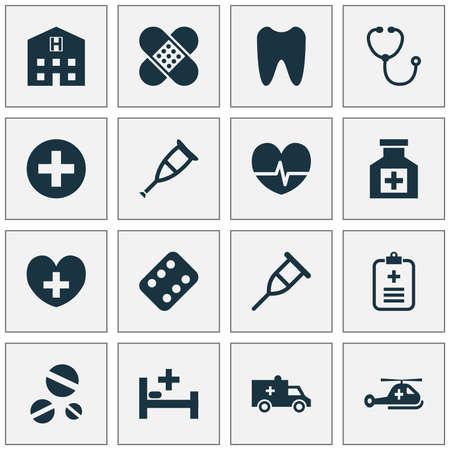 抗生物質のアイコンを設定します。テント、撤退のコレクション プラスや他の要素。またラック、病気、鎮痛剤などの記号が含まれています。  イラスト・ベクター素材