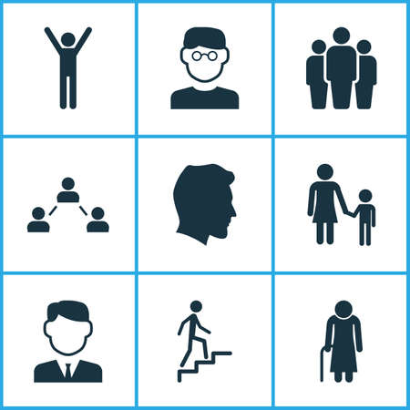 smart: Person Icons Set. Collection Of Ladder, Family, Network And Other Elements. Also Includes Symbols Such As Smart, Gentleman, Ladder.