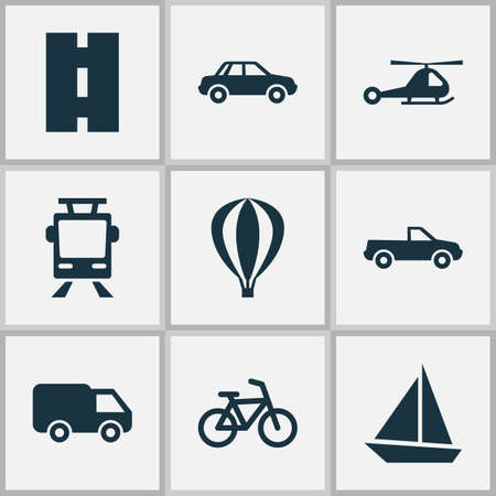 camion: Transportation Icons Set. Collection Of Bicycle, Airship, Way And Other Elements. Also Includes Symbols Such As Yacht, Camion, Truck. Illustration