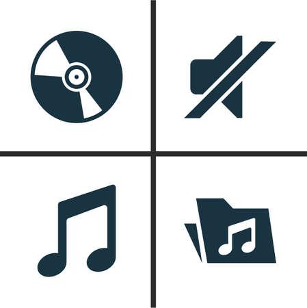音楽のアイコンを設定します。沈黙、Cd、書類、その他の要素のコレクションです。注、ミュート、音楽などの記号も含まれています。  イラスト・ベクター素材