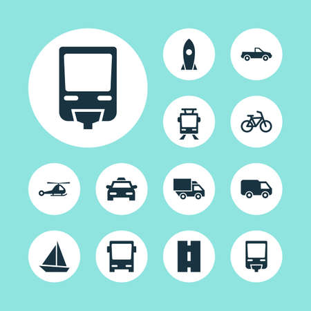 Shipment Icons Set. Collection Of Cab, Omnibus, Bicycle And Other Elements. Also Includes Symbols Such As Streetcar, Taxi, Pickup.