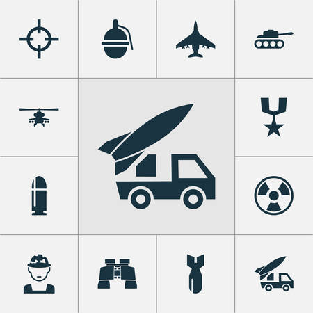 atomic bomb: Combat Icons Set. Collection Of Panzer, Aircraft, Ordnance And Other Elements. Also Includes Symbols Such As Bomb, Oficer, Hazard. Illustration