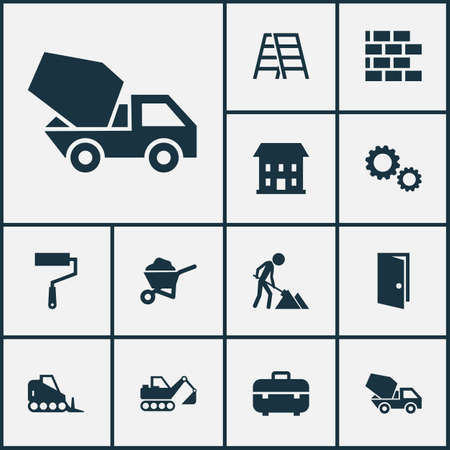 rural road: Industry Icons Set. Collection Of Carry Cart, Wall, Stair And Other Elements. Also Includes Symbols Such As Cogwheel, Toolbox, Stepladder. Illustration