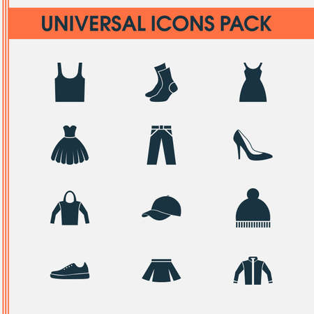 shoelace: Clothes Icons Set. Collection Of Trilby, Singlet, Stylish Apparel And Other Elements. Also Includes Symbols Such As Garment, Woman, Gumshoes. Illustration