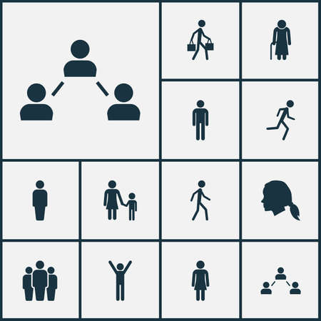 business meeting: Person Icons Set. Collection Of Female, Group, Gentlewoman Head And Other Elements. Also Includes Symbols Such As Person, Unity, User.