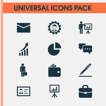 signing: Trade Icons Set. Collection Of Leader, Presentation Board, Identification And Other Elements. Also Includes Symbols Such As Briefcase, Signing, Id.