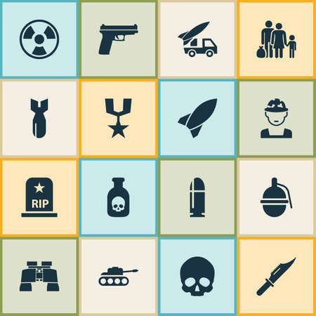 atomic symbol: Warfare Icons Set. Collection Of Panzer, Rocket, Danger And Other Elements. Also Includes Symbols Such As Head, Shot, Knife.