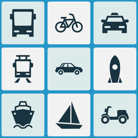 Transport Icons Set. Collection Of Tanker, Spaceship, Bicycle And Other Elements. Also Includes Symbols Such As Cargo, Boat, Flight.