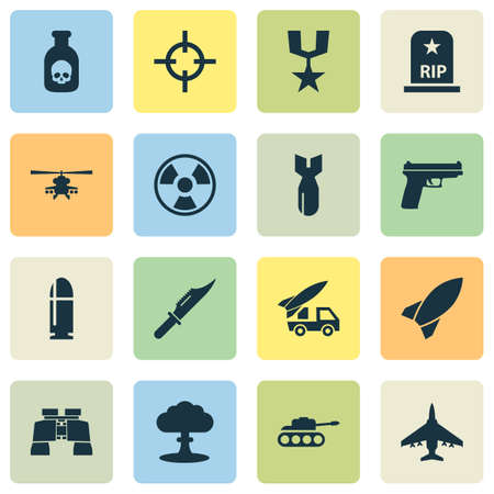 atomic symbol: Combat Icons Set. Collection Of Cutter, Missile, Aircraft And Other Elements. Also Includes Symbols Such As Order, Missile, Danger. Illustration