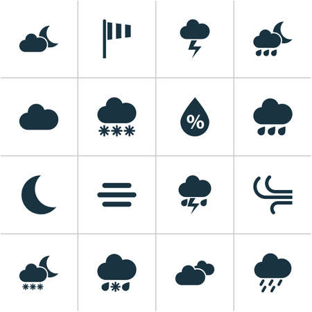 weathercock: Weather Icons Set. Collection Of Night, Flash, Nightly And Other Elements. Also Includes Symbols Such As Outbreak, Light, Humidity.