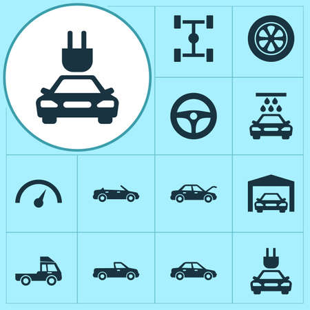 Car Icons Set. Collection Of Van, Wheel, Repairing And Other Elements. Also Includes Symbols Such As Fixing, Wheelbase, Steering. 向量圖像
