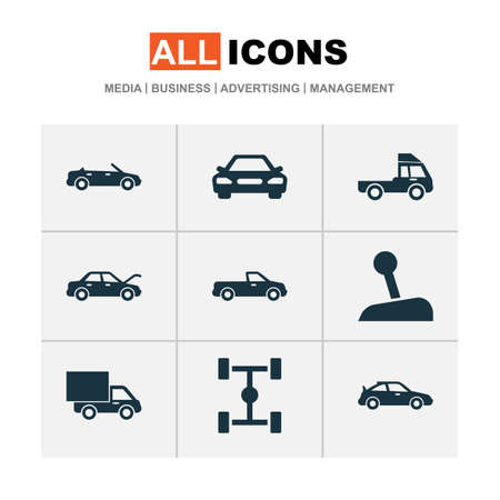 camion: Auto Icons Set. Collection Of Stick, Van, Wheelbase And Other Elements. Also Includes Symbols Such As Lever, Chassis, Convertible.