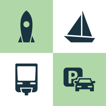 monorail: Transportation Icons Set. Collection Of Spaceship, Road Sign, Yacht And Other Elements. Also Includes Symbols Such As Monorail, Railroad, Auto.