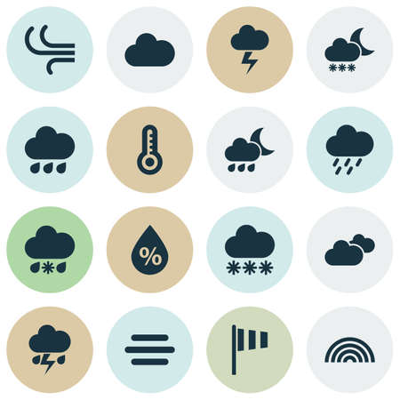 sleet: Weather Icons Set. Collection Of Colors, Breeze, Night And Other Elements. Also Includes Symbols Such As Thermometer, Moisture, Cloudy.