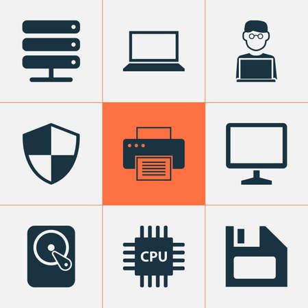 Ensemble d'icônes pour ordinateur portable. Collection de bureau, machine d'impression, disquette et autres éléments. Inclut également des symboles tels que la machine, l'écran, la carte mère.