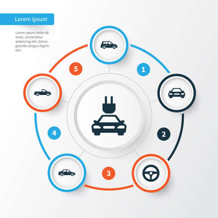 ruder: Automobile Icons Set. Collection Of Plug, Carriage, Drive Control And Other Elements. Also Includes Symbols Such As Sedan, Crossover, Wheel. Illustration