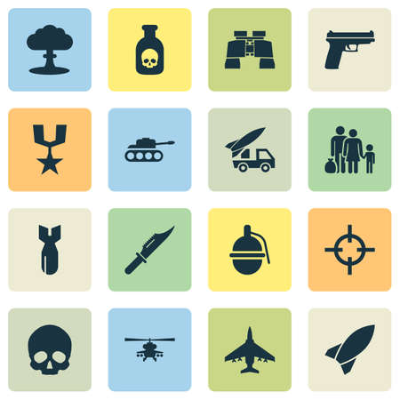 Combat Icons Set. Collection Of Missile, Fugitive, Chopper And Other Elements. Also Includes Symbols Such As Skull, Binoculars, Ordnance. Illustration