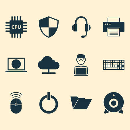 storage device: Computer Icons Set. Collection Of Computer Mouse, Web, Earphone And Other Elements. Also Includes Symbols Such As Earphone, File, Microphone. Illustration