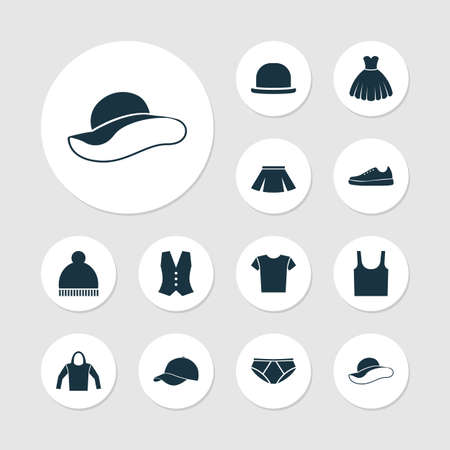 hooded vest: Garment Icons Set. Collection Of Elegant Headgear, Singlet, Panama And Other Elements. Also Includes Symbols Such As Shirt, Gumshoes, Fedora. Illustration