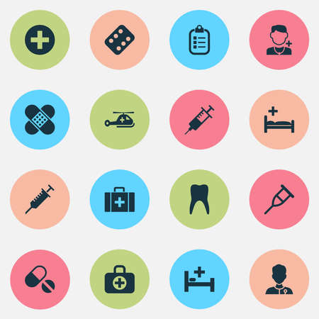 healer: Medicine Icons Set. Collection Of Dental, Mark, Chest And Other Elements. Also Includes Symbols Such As Mark, Medic, Healthy. Illustration