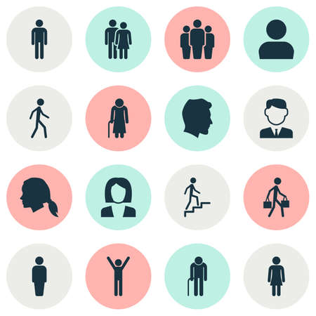 rejoice: Human Icons Set. Collection Of Male, Old Woman, Ladder And Other Elements. Also Includes Symbols Such As Grandma, Businesswoman, Man.