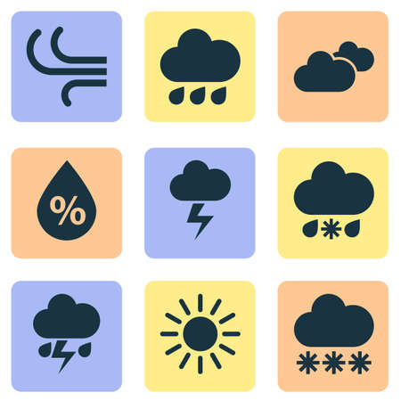 Meteorology Icons Set. Collection Of Snowy, Moisture, Weather And Other Elements. Also Includes Symbols Such As Hate, Rainy, Sunny.