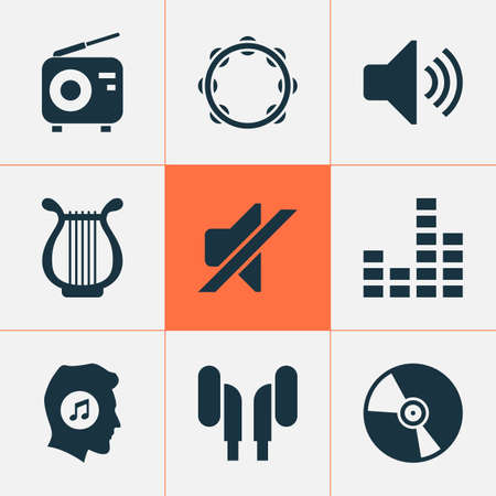 Audio Icons Set. Collection Of Equalizer, Earmuff, Timbrel And Other Elements. Also Includes Symbols Such As Cd, Equalizer, Headphone. 向量圖像