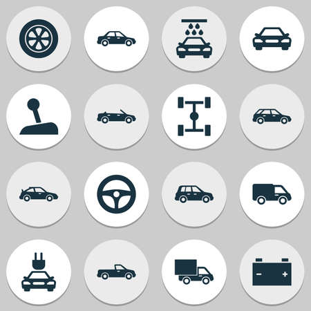 bogie: Car Icons Set. Collection Of Transport Cleaning, Auto, Automobile And Other Elements. Also Includes Symbols Such As Car, Battery, Wheelbase.