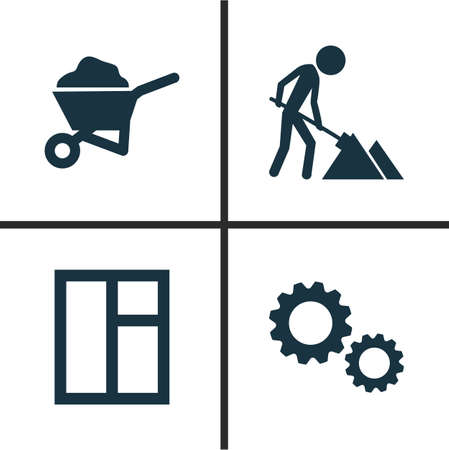 rural development: Building Icons Set. Collection Of Carry Cart, Glass Frame, Cogwheel And Other Elements. Also Includes Symbols Such As Frame, Wheelbarrow, Barrow.