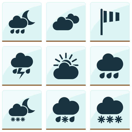 weathercock: Nature Icons Set. Collection Of Nightly, Night, Wet And Other Elements. Also Includes Symbols Such As Vane, Snowy, Weather.